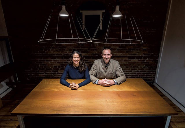 Jessica and Dustin Glasscoe of Vermont Farm Table at their offices in Burlington - GLENN RUSSELL