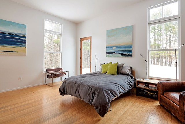 Master bedroom with paintings by Sara Katz - BEAR CIERI