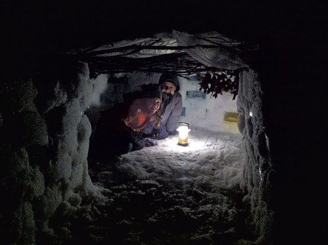 Kimberly Harrington's - children, Hawthorne and - Walker Hughes, in their igloo - COURTESY OF KIMBERLY HARRINGTON