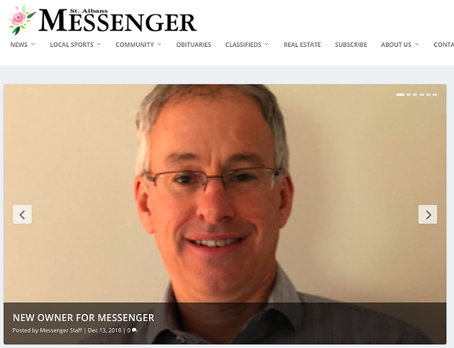 The St. Albans Messenger website features a photo of new owner Jim O'Rourke. - SCREENSHOT