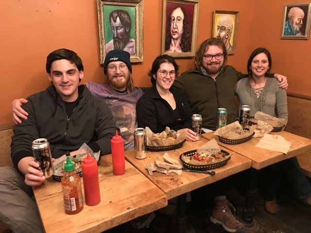 Jack Birmingham, second from right, and friends at Chubby Muffin - SALLY POLLAK