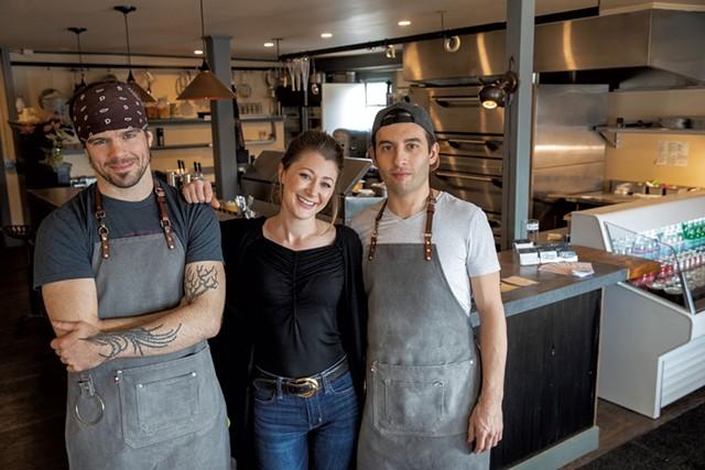 From left: Chef/co-owner Silas Pollitt, designer/assistant manager Allie Duhamel and owner/manager Tyler Stratton - JAMES BUCK