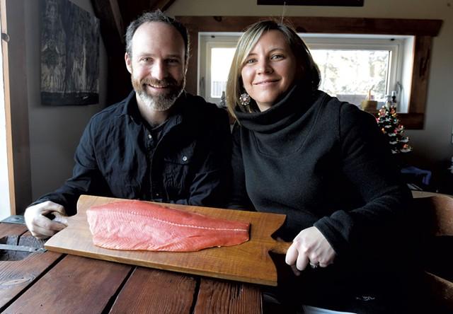 Lynn and Maria Steyaart with some coho salmon from Alaska - COURTESY OF HONEYWILYA FISH