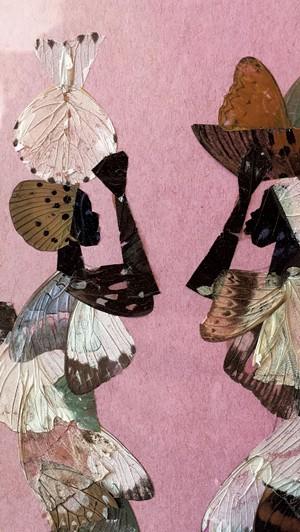Tanzanian butterfly wing painting, detail - RACHEL ELIZABETH JONES