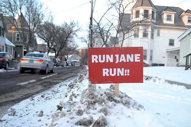 Signs like this popped up in the Old North End - KATIE JICKLING