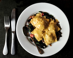 Stuffed ravioli and chard at Salt in Montpelier - JEB WALLACE-BRODEUR