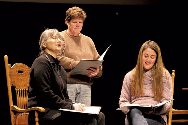 From left: Hillary Mullins, Susan Loynd and Samantha Loesch reading The Laramie Project - COURTESY OF RAMSEY PAPP