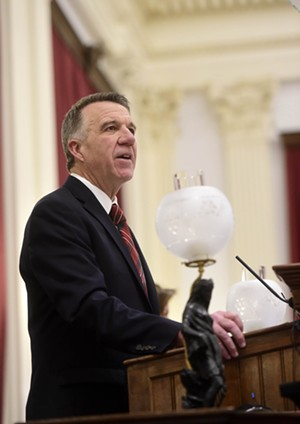 Gov. Phil Scott delivers a budget address to the legislature on January 24, 2019. - JEB WALLACE-BRODEUR