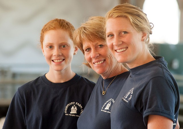 Isabel and Bonnie Hall with Clara Ayer at Fairmont Farm - © CABOT CREAMERY CO-OPERATIVE