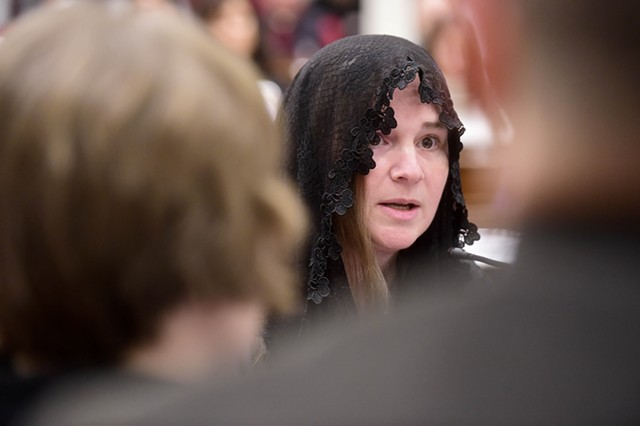 A woman testifies Wednesday at the Statehouse. - JEB-WALLACE BRODEUR