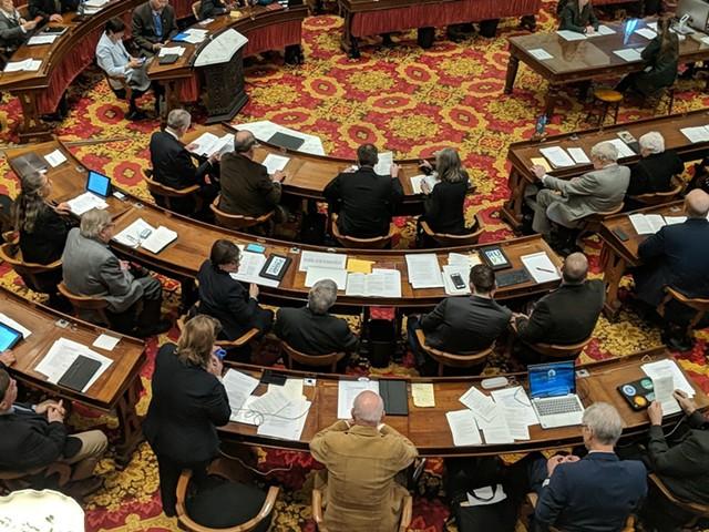Rep. Heidi Scheuermann (standing) addresses House lawmakers - TAYLOR DOBBS