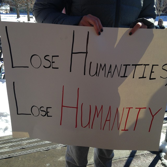 A sign at Thursday's rally - MOLLY WALSH
