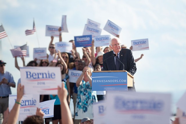 Sen. Bernie Sanders kicks off his first presidential campaign at the Burlington waterfront in May 2015. - FILE: JAMES BUCK