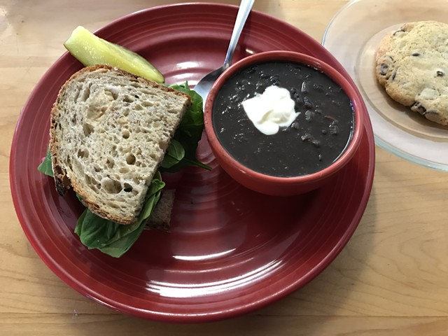 Hummus sandwich and chili at Red Hen Baking Co. - SALLY POLLAK