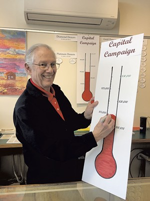 Barry Genzlinger with fundraising thermometer - PAMELA POLSTON
