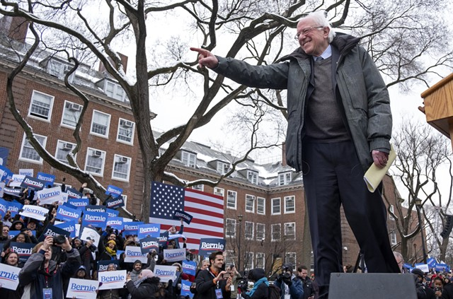 Sen. Bernie Sanders working the crowd at his presidential campaign rally in Brooklyn - AP PHOTO/CRAIG RUTTLE
