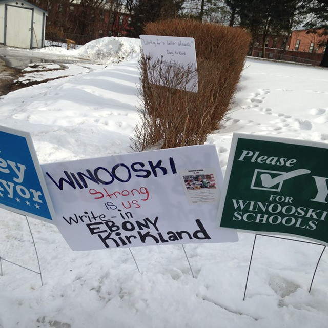 Election signs in Winooski - MOLLY WALSH