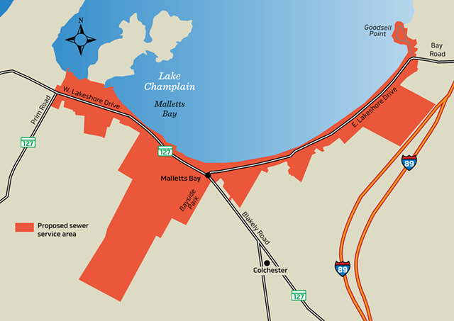 The proposed sewer area along Malletts Bay