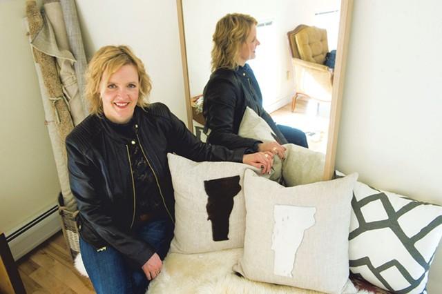 Interior designer Teri Maher at her studio in Waterbury - JEB WALLACE-BRODEUR