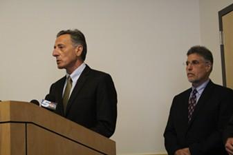 Gov. Peter Shumlin and Secretary of Human Services Hal Cohen Monday in Winooski - PAUL HEINTZ