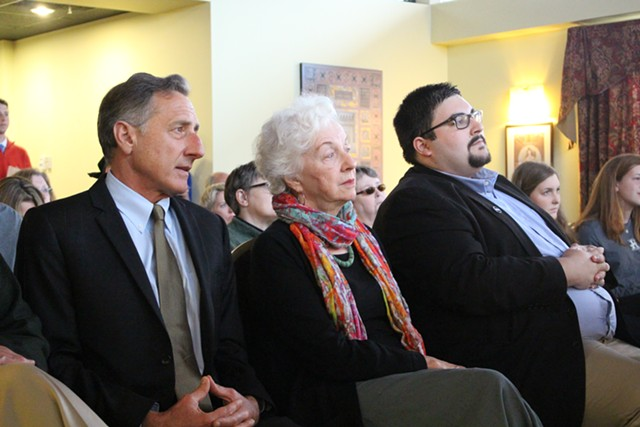 Gov. Peter Shumlin, former governor Madeleine Kunin and Clinton staffer Brandon Bantham Monday in Burlington. - PAUL HEINTZ