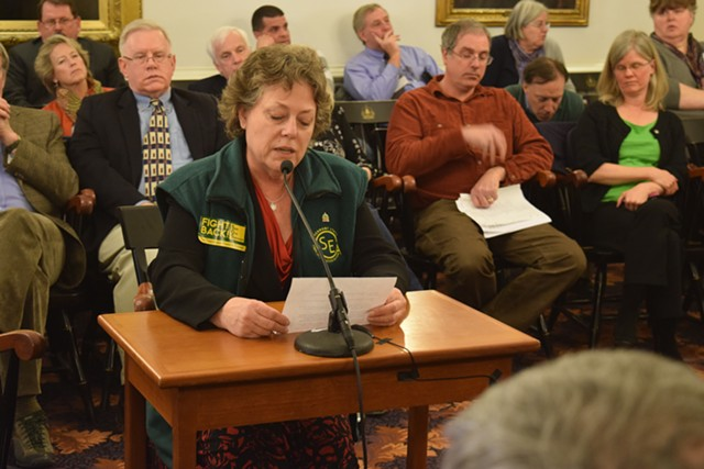Vermont State Employees Association President Shelley Martin speaks against personnel cuts at a Statehouse hearing earlier this year. - TERRI HALLENBECK