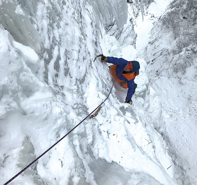 Steve Charest climbing in Smugglers' Notch - COURTESY OF STEVE CHAREST