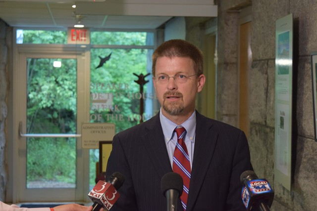 House Speaker Shap Smith addresses reporters Monday at the Statehouse. - TERRI HALLENBECK