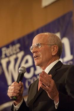Congressman Peter Welch speaks in November 2014 after winning a fifth term. - MATTHEW THORSEN