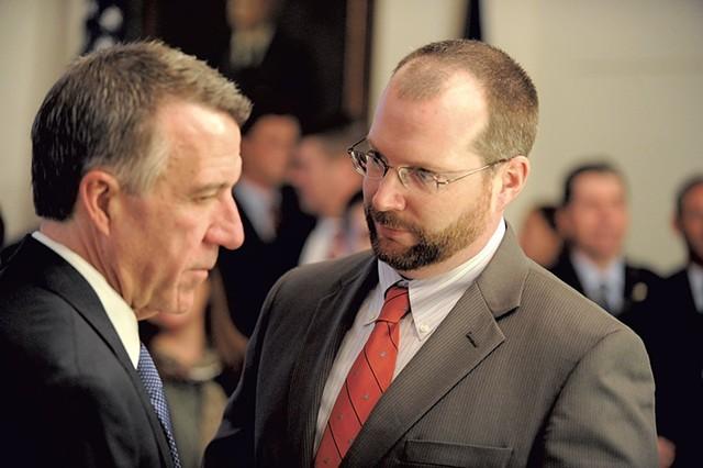 Gov. Phil Scott (left) and Jason Gibbs - FILE: JEB WALLACE-BRODEUR