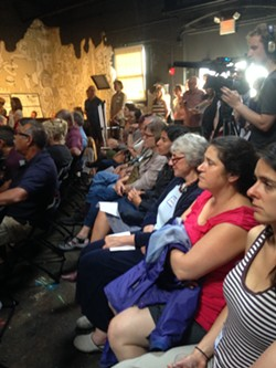 A crowd gathered Tuesday night to discuss possible zoning changes in the South End at ArtsRiot in Burlington. - MOLLY WALSH/SEVEN DAYS