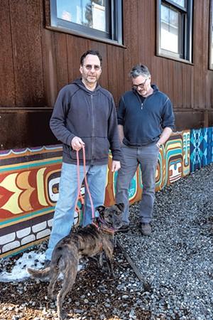 Greg Goodman, Tom Bodett and Gypsy outside HatchSpace - ZACHARY P. STEPHENS