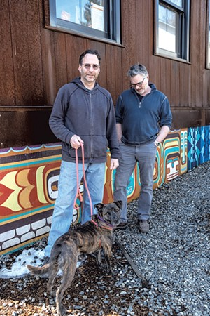 Greg Goodman, Tom Bodett and Gypsy outside HatchSpace - ZACHARY P. STEPHENS