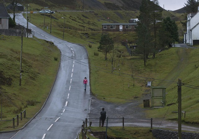 A gorgeous telephoto shot of a Scottish village in Under the Skin - CANAL+
