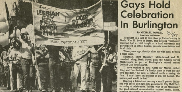 A 1984 story on Burlington's second gay pride march. - BERNARD SANDERS PAPERS, SPECIAL COLLECTIONS, UNIVERSITY OF VERMONT LIBRARY