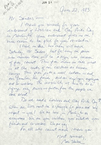 June 22, 1983 letter from Bob Skiba to Mayor Bernie Sanders - BERNARD SANDERS PAPERS, SPECIAL COLLECTIONS, UNIVERSITY OF VERMONT LIBRARY