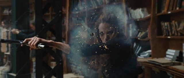"""Angelina Jolie """"curving a bullet"""" in Wanted - UNIVERSAL PICTURES"""