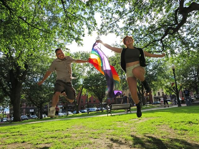 celebrating the ruling in City Hall Park - MATTHEW THORSEN