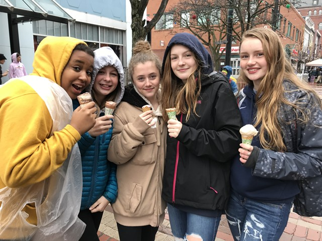 Left to right: Alivia Roth, Lissy Sumner, Lucy McLaughlin, Camryn Muzzy, Tess Barker at Free Cone Day - SALLY POLLAK