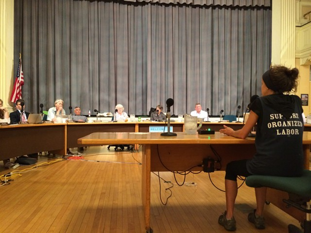 Karen Porter, a Howard Center worker, addresses the Burlington City Council earlier this year. - ALICIA FREESE
