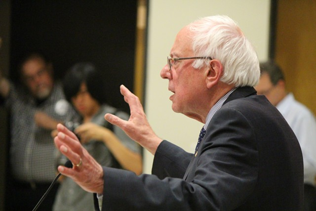 Sen. Bernie Sanders speaks Thursday night at Morningside College in Sioux City, Iowa. - PAUL HEINTZ