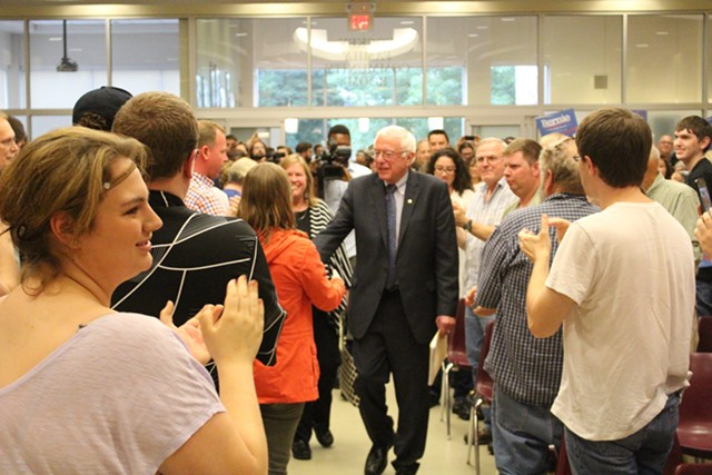 Sen. Bernie Sanders arrives Thursday night at Morningside College in Sioux City, Iowa. - PAUL HEINTZ