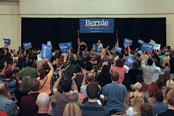 Sen. Bernie Sanders speaks at the Mid-America Center in Council Bluffs, Iowa. - DEBRA KAPLAN