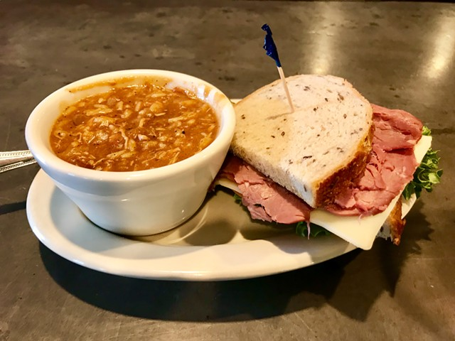 Soup and sandwich at Maxi's - SALLY POLLAK