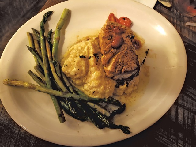 Theon's Catch (halibut, risotto and asparagus) at the Old Foundry at One Federal Restaurant and Lounge - CAROLYN SHAPIRO