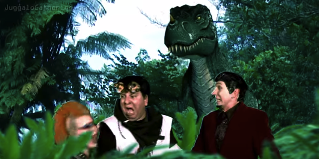 Futuristic Juggalos menaced by a T. Rex. Because of course they are. - PSYCHOPATHIC RECORDS