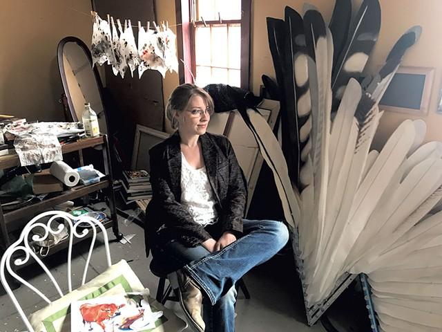 Katie Runde in her studio in White River Junction - CHELSEA EDGAR