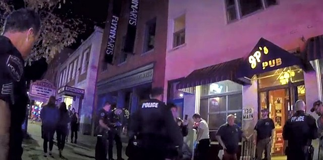Burlington police at the scene of the incident involving the Meli brothers - STILL FROM BODYCAM FOOTAGE