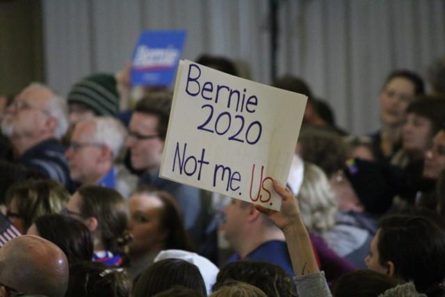 Bernie Sanders supporters at a rally in Concord, N.H. - PAUL HEINTZ