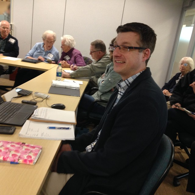Devin Colman, state architectural historian, at the meeting Thursday - MOLLY WALSH